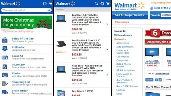 Walmart's smartphone site doesn't work well with mobile search, as shown in these three images — described in  the paragraph above.