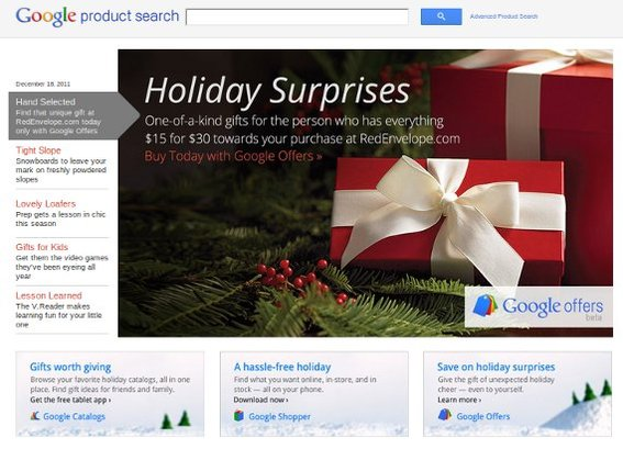 Google Product Search content appears on Google's various shopping sites and results.