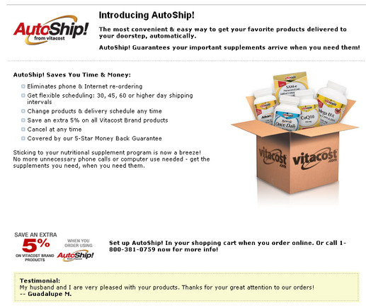 Vitacost's auto-ship program is explained in a straightforward manner.