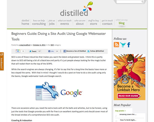 """Beginners Guide: Doing a Site Audit Using Google Webmaster Tools."""