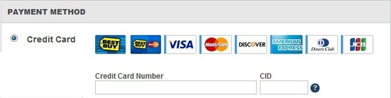 Best Buy supports a wide range of credit cards.