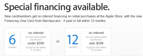 Retailers often use instant financing as an incentive to sign up for credit cards. This example is from Apple.com.