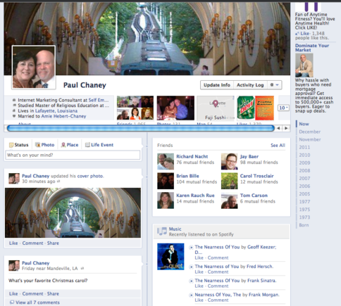 "Facebook debuts Timeline, ""a new kind of Profile."" The image is the author's Timeline page."