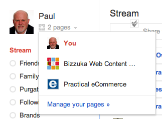 Start by selecting your Google+ business page.