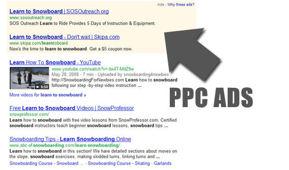Many PPC ads are displayed on search engine results pages.