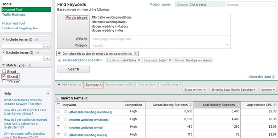 Google AdWords Keyword Tool's user interface.