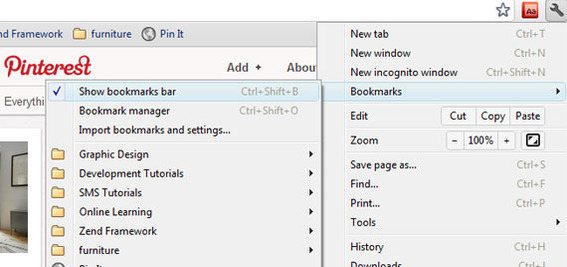 "In Chrome the ""Show Bookmarks Bar"" option is under ""Bookmarks"" in the settings menu."