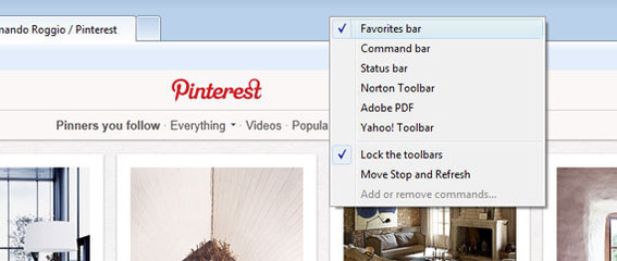 "Internet Explorer 9 calls its bookmark bar a ""Favorites Bar."""