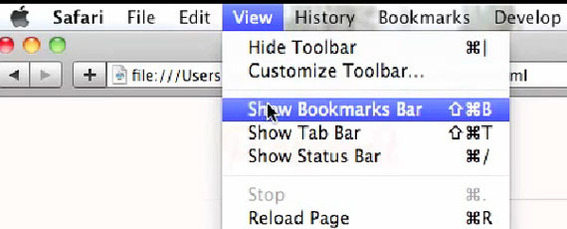"Safari has its ""Show Bookmarks Bar"" option under ""View."""