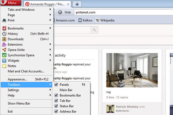 Opera's Bookmark Bar option is under toolbars.