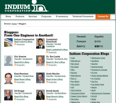 Indium uses a blog-centric strategy for marketing.