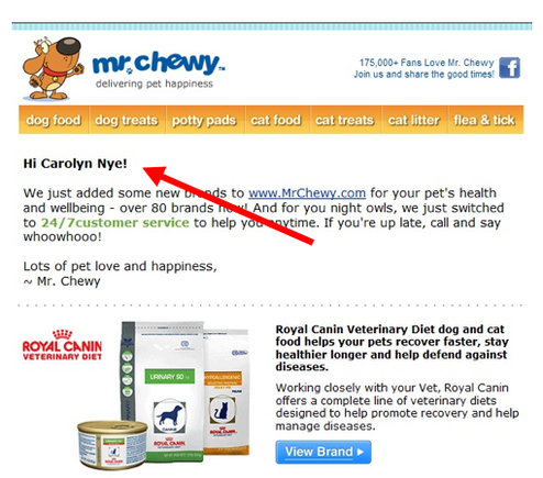 "This email from a pet supplier includes a personalized salutation: ""Hi Carolyn Nye!."""