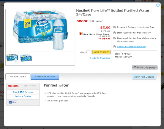 Quick-view modal from Staples.com of Nestle Pure Life water.