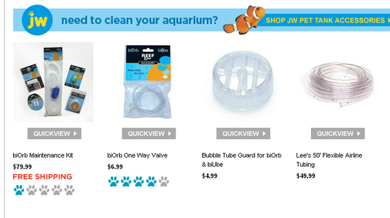 "Petco.com places the ""QuickView"" link directly below the product image, which helps eliminate confusion."