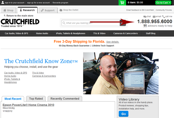 Crutchfield, the electronics retailer, offers multiple ways to contact its customer service department.