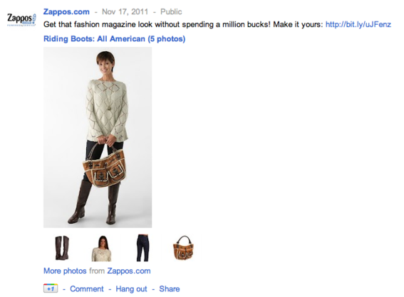 Zappos is a good example of how merchants can use Google+.