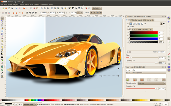 Inkscape is the most popular free vector-image editor.