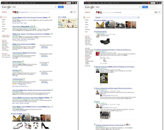 "On the left is Google's typical search results page for a search for ""shoes."" On the right is Google's SPYW result page for the same query."