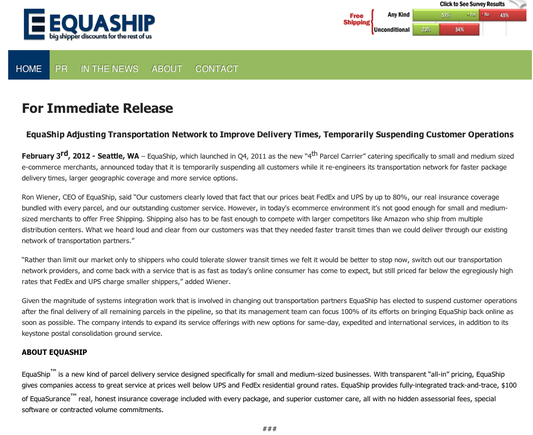 "Equaship announcement, suspending operations. Click on the ""Enlarge"" link to read entire text."