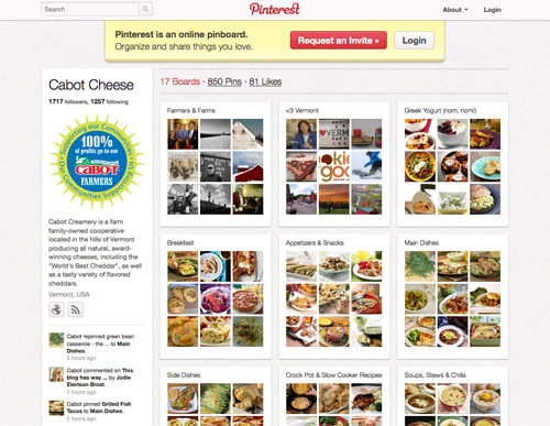 Cabot Cheese on Pinterest.