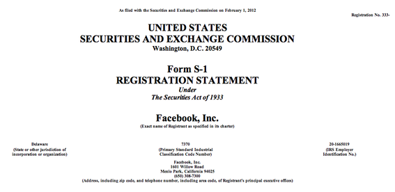 Facebook filed its S-1 registration statement, hoping to raise $5 billion in a potential $100 billion overall valuation.