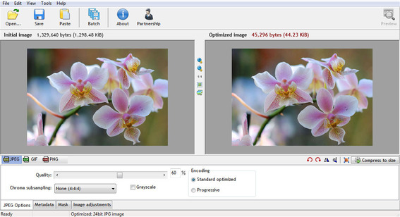 RIOT is a freeware, Windows application that helps optimize images.