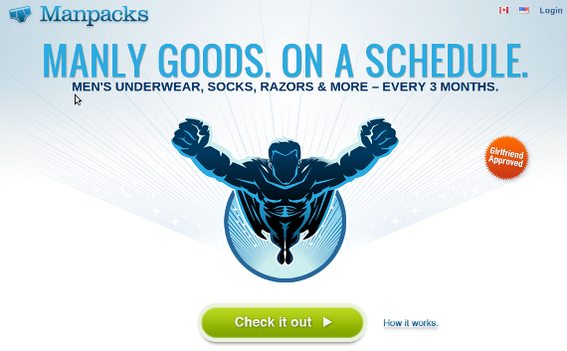 Manpacks sells a subscription service that makes shoppers' lives easier.