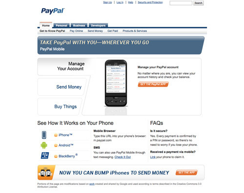 PayPal Mobile Payments.