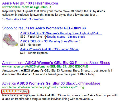 Search results with ratings stars in the snippets due to hReview-aggregate microformatting.