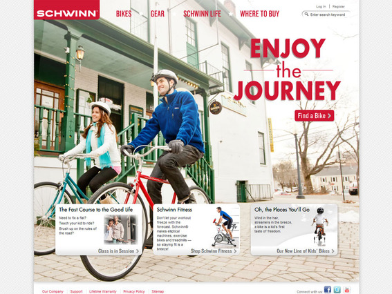Schwinn's home page shows its products in context and links to content marketing.