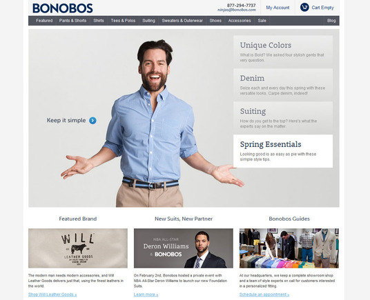Bonobos is a fashionable purveyor of men's clothing.