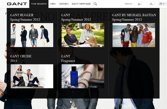 Gant, like many other Magento merchants, is beginning to show images in navigation.