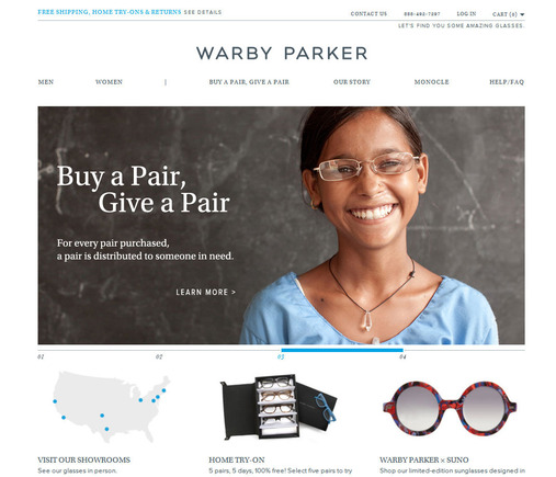 The Warby Parker site is functional and beautiful.