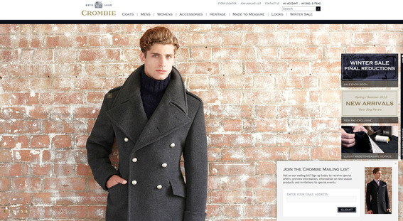 Crombie's Magento site features a nearly full page content slider.