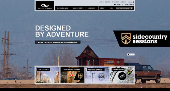Outdoor Research treats its home page like a content slider.
