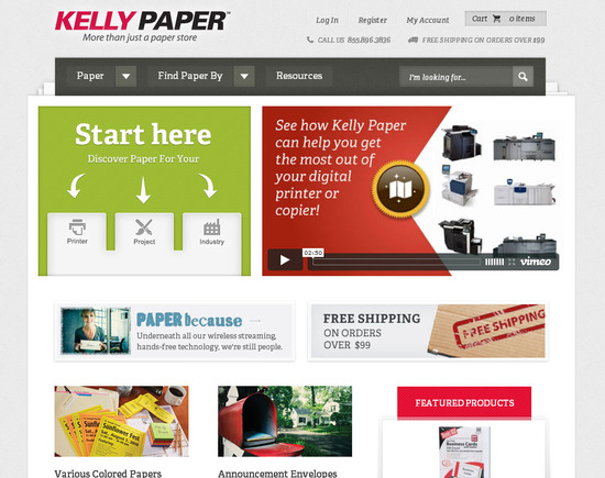Kelly Paper's home page is vibrant and engaging.