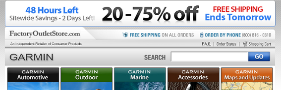 FactoryOutletStore.com's landing page offered continuity with its pay-per-click ad, emphasizing the 75 percent off.