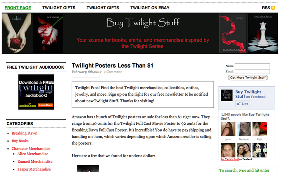 BuyTwilightStuff is an affiliate site focusing on the Twilight book and movie series.
