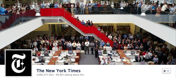 The New York Times cover photo features its staff members.