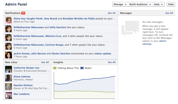The Admin Panel provides a snapshot of page activity and engagement.