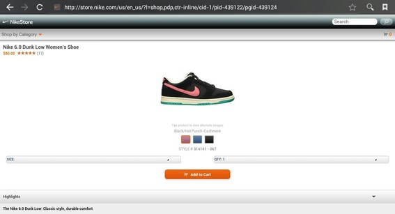 For smaller screens, Nike has a cleaner, simpler web interface.