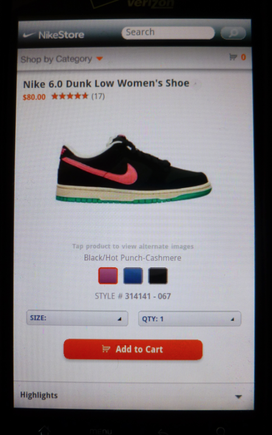 For mobile browsers, Nike shows only the basic options needed for a purchase.