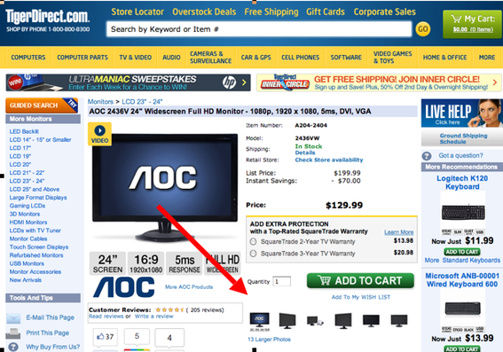 On the lower right of this product detail page, TigerDirect.com provides multiple views of this computer monitor. TigerDirect is a terrific  website to analyze when it comes to product pages.