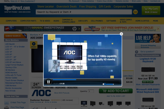 TigerDirect offers pop-up product demonstration videos.