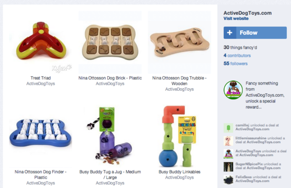 ActiveDogToys.com lists pet products on Fancy.