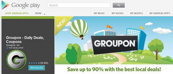 Groupon's Android app in the Google Market