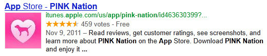 Google's search result for the Victoria's Secret PINK Nation app in the Apple App Store