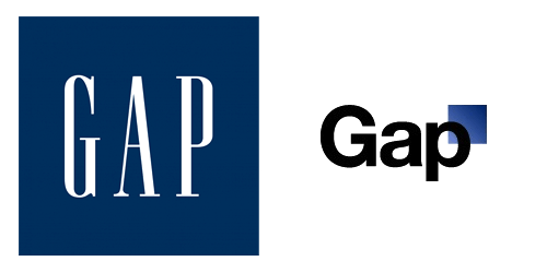 Gap logo: Redesigned logo on right.