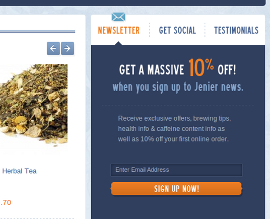 Jenier World of Teas offers a 10 percent discount and describes what users get.