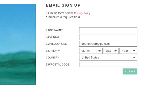Roxy gets additional subscriber information on the email subscription confirmation page.
